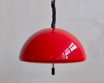 Vintage Guzzini Ceiling Light /  Space Age Pendant Lamp / Adjustable /  70's Italy  / Red