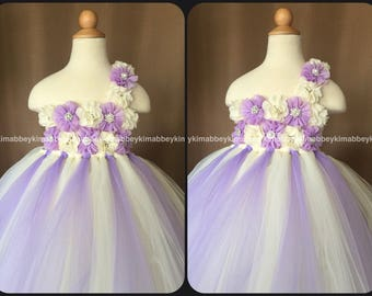 beautiful flower girl dress in ivory and lavender