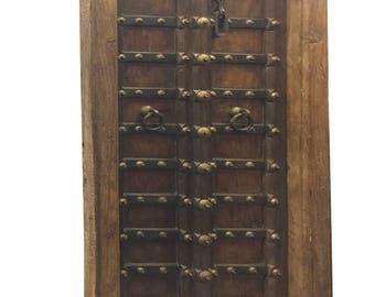 Antique Doors Chakra Grounding  Rustic Patina Hand Carved Teak Door with Iron Straps Rustic Luxe Decor