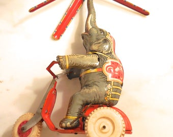 Vintage  Tin Toy Elephant on Tricycle U S Germany