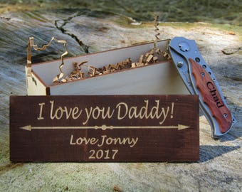 Father's Birthday Knife Dad's Gift Personalized Custom Pocket Knife Engraved Dad or Grandpa, Knife Gift Set, I Love My Daddy, Father's Day