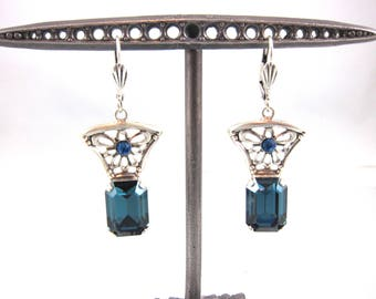Vintage Catherine Popesco Blue Swarovski Crystal And Sterling Silver Art Deco Style Floral Dangle Earring-Made In France