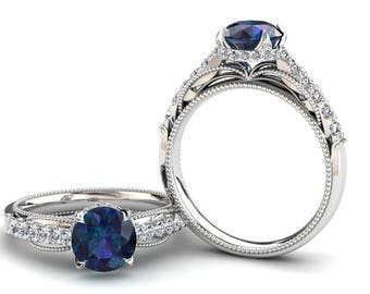 Alexandrite White Gold Ring 1.50 Carat Color Change Alexandrite Ring Set With Natural Diamonds In 14k or 18k White Gold SJW2ALEXW