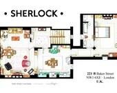 Floorplan of Sherlock's apartment from the BBC series.