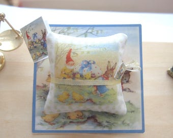 easter pillow cushion bunny and gnome 12th scale miniature