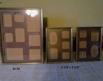 Vintage Gold Metal Frames Matching Set of 3. 8x10, 5x7