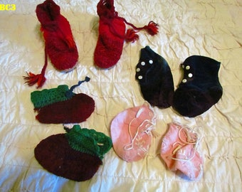 Vintage baby slippers from 1910's, 4 pair