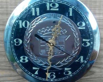 Re-purposed Cadillac Hubcap Center Wall Clock