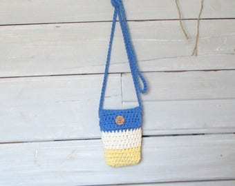Hand Crocheted Chunky Cotton Small Purse Blue Cream Yellow Pouch Cross Body