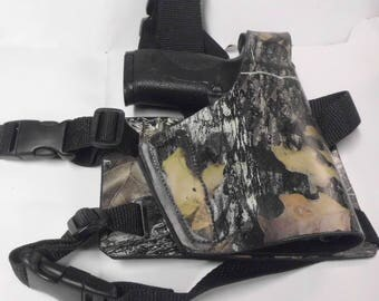 Leather Tactical leg holster/ camo leather