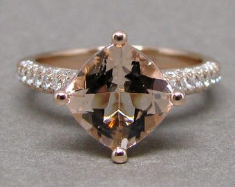 Cushion Morganite Engagement Ring Pave Three Row Diamond 14k Rose Gold Wedding Bridal Ring 8mm