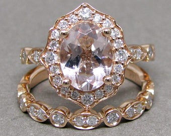 Oval 9x7 Morganite Engagement Ring Diamond Bridal Set Wedding 14k Roe Gold 2 1/3ct Total Weight Vintage Scalloped Design