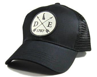 Homeland Tees Delaware Arrow Hat - All Black Trucker