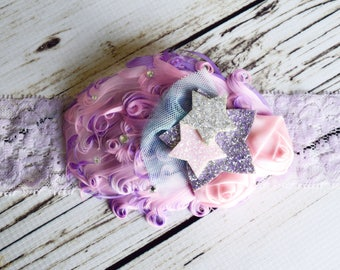 Handcrafted Fantasy Twinkle Twinkle Little Star Headband - Whimsical Star Headband - Toddler Feather Headband - Purple and Pink Headpiece