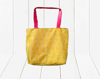 Eco Friendly Reusable Shopping Bag Reversible Tote Bag Yellow Heart Print
