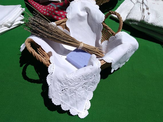 Antique French White Basket Doily Hand Crocheted Lace Trim Rose Cut Work Hand Embroidered Basket Napkin #sophieladydeparis