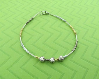 stainless steel heart anklet and bracelet
