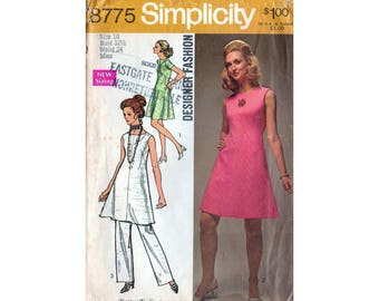 70s Simplicity 8775 sewing pattern - mini dress, tunic and trousers - Bust 32.5 inches