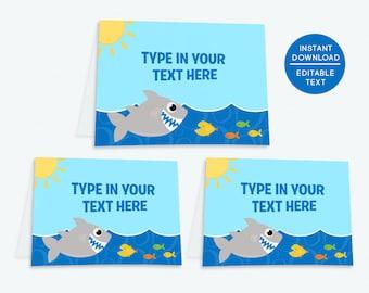 Shark Party Tent Cards, Buffet labels, Buffet Signs, Food Tent Cards, Food Labels, Food Tents, Candy Buffet Signs, Candy Buffet Labels | 561