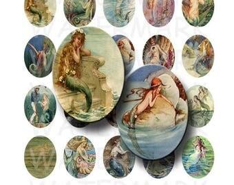 SALE- Vintage Mermaid Art - Digital Collage Sheet   - 30x40mm Ovals - INSTANT DOWNLOAD