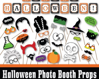 Halloween Photo Booth Props and Decorations - Printable Props and Banner - Over 40 Images - Digital Download- INSTaNT DOWNLoAD