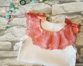 Coral lace and ribbon vest, Baby girl vest, lace vest, baby girl dress, party dress, coral, baby girl outfit, bodysuit