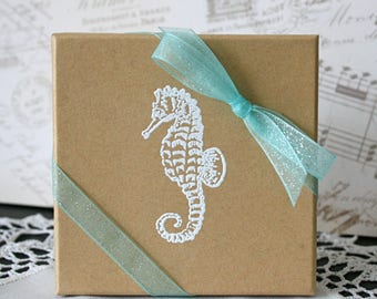 Seahorse Gift box, Embossed Gift Boxes, Paper gift box, Jewelry gift boxes, Bridesmaid gift box, Coastal Favor boxes