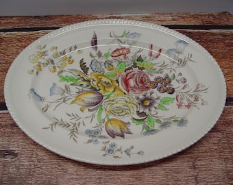 Windsor Ware Garden Bouquet Extra Large Oval Serving Platter, Johnson Brothers, England