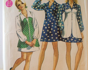 Vintage 1970 Simplicity 8710 sewing pattern.Mini Dress, Tunic Pattern With Long Vest  size 11/12