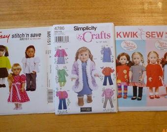 18 Doll Dress Skirt Top Pant Coat More Clothes Patterns Uncut Lot Of