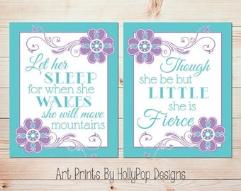 Baby girl nursery decor Let her sleep Though she be but little Purple aqua nursery art Nursery art prints Floral girl nursery art #1385