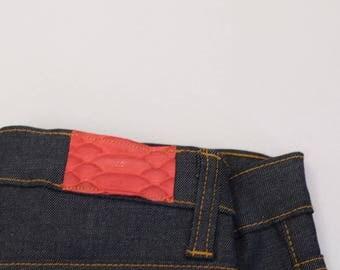 Toskana Loyola Red color  Snakeskin trim ripped sikinny Women's jeans
