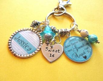 Sweet 16 personalized key chain purse charm - new driver key chain - guardian angel key chain