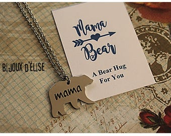 Mama Bear Necklace Mama Animal Necklace Bear (CO72) - Stainless Steel