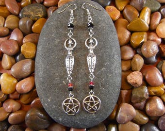 Crystal Goddess Pentagram Earrings - Goddess Earrings, Goddess Jewelry, Goddess, Pentagram Earrings, Pentagram Jewelry, Wiccan, Pagan