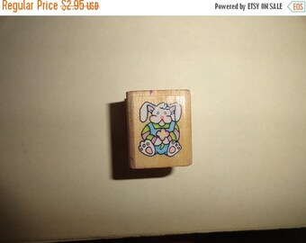 50% OFF 1993 Bunny stamp 1 in by 1 inch Vintage Wooden rubber stamp