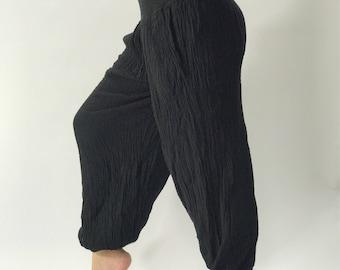 HC0055 Cotton Gauze Yoga Pants Super Soft. Elastic waist in Black color