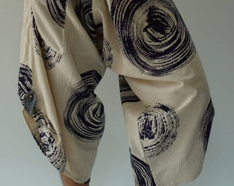 SR0170 Samurai pants with Unique Hilltribe fabric Wrap Around (M/L size)