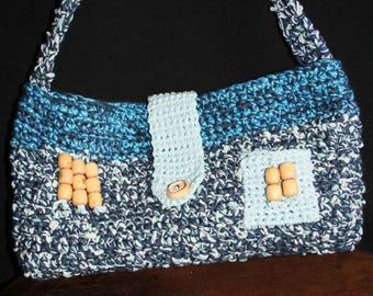 crochet cotton shoulder bag (was) mottled blue