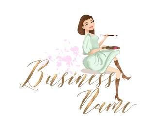 DIGITAL Logo for painter , Custom Logo design, logo brush colors, logo design for painter, artist logo watermark, girl painting logo