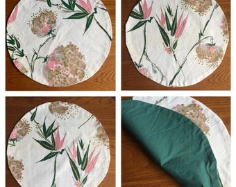 4 ROUND  BARKCLOTH PLACEMATS Vintage Tropical Pattern Handmade round Bird of Paradise Tc-143