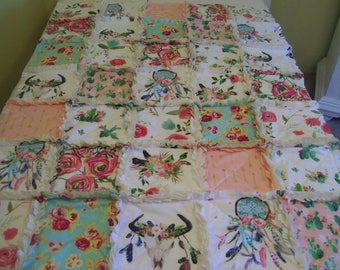 Crib Rag Quilt, Cow Skull Pink Aqua Arrows Feathers Dream Catcher Baby Quilt Navy Southwest Roses Cactus Bohemian Girl Crib Bedding