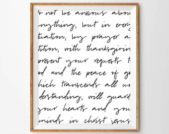 Black and White Handwriting Scripture Print - Philippians 4:6-7