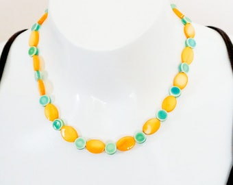 Spring Summer Jewellery Yellow Necklace Green Necklace Set Necklace Earring Set, Trendy necklace set, Modern Necklace, Handmade, OOAK