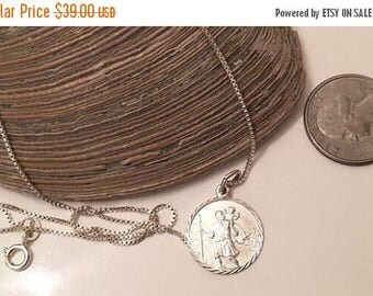 SALE Sterling silver saint christopher pendant and chain italy