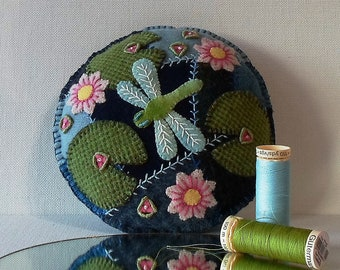 Handmade Dragonfly and  Water Lilies on a Summer Pond Felted Wool Embroidered Crazy Patch Pincushion