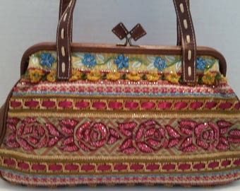 Isabella Fiore Handbag. Embroidered and Beaded Isabella Fiore Bag.  Isabella Fiore Colorful Beaded Bag with Leather Trim.  A work of Art.