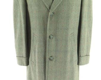 Vintage 50s Wool Overcoat Mens 38 Box Plaid Union Made USA Burleigh [H18M_3-5_Long]