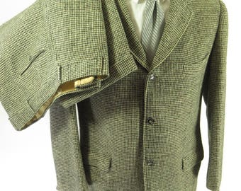 Vintage 60s Harris Tweed 2 Piece Suit Jacket Mens 42 Pants 38 x 31 Scottish Wool [I04X_5-5]
