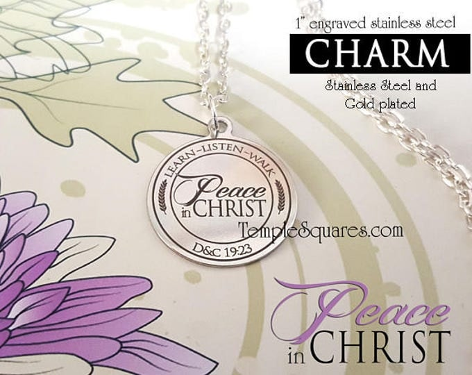 Only YW 2018 Peace in Christ - CHARM for Pendant Necklace Young Women, Engraved Stainless Steel Charms for YWIE, New Beginnings or Christmas